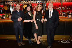 Left to right, ANDREW MICHAEL HURLEY,  FRANCES HARDINGE, ANDREA WULF and DON PATERSON at the Costa Book of The Year Awards held at Quaglino's, 16 Bury Street, London on 26th January 2016.
