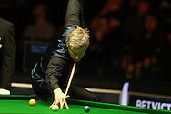 Neil Robertson of Australia in action during his match against China's Ding Junhui. Betvictor Welsh Open snooker 2016, day 5 at the Motorpoint Arena in Cardiff, South Wales on Friday 19th Feb 2016.  <br /> pic by Andrew Orchard, Andrew Orchard sports photography.