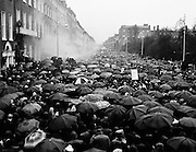 Tens of thousands marched on the British Embassy in Merrion Square, Dublin, in protest at the Bloody Sunday killings of civil rights protesters in Derry by the Parachute Regiment on 30 January. The embassy was attacked by stones and petrol bombs before being set alight.<br /> 02/02/1972