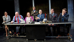 Clarion <br /> by Mark Jagasia <br /> directed by Mehmet Ergen <br /> at the Arcola Theatre, London, Great Britain <br /> press photocall <br /> 16th April 2015 <br /> <br /> Clare Higgins as Columnist Verity Stokes<br /> <br /> Jim Bywater as News Editor Albert Duffy <br /> <br /> Ryan Wichert as Journalist Joshua Moon <br /> <br /> Greg Hicks as Editor Morris Honeyspoon <br /> <br /> Laura Smithers as Work Experience Journalist Pritti <br /> <br /> Peter Bourke as Managing Editor Clive Pumfrey <br /> <br /> Photograph by Elliott Franks <br /> Image licensed to Elliott Franks Photography Services