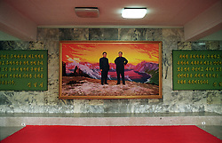 "Pyonyang, North Korea, April/May 2004. Art gallery in Pyongyang. Painting of ""Eternal President"" Kim Sung Il and his son General Kim Jung Il. (Photo by Teun Voeten) *** Please Use Credit from Credit Field ***"