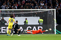 Eintracht Frankfurt's Luka Jovic (second left) scores his side's first goal of the game during the UEFA Europa League Semi final, first leg match at The Frankfurt Stadion, Frankfurt.