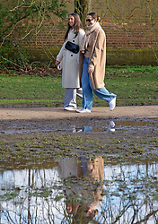 © Licensed to London News Pictures 05/02/2021.        Greenwich, UK. Large puddles in the park from the rainy weather. People get out of their homes from a third national Coronavirus lockdown to enjoy the sunny Friday weather with some permitted exercise in Greenwich Park, London. Photo credit:Grant Falvey/LNP