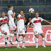 Turkey's Cansu YAG (2ndL),Yeliz DEMIR (2ndR), Eylul ELGALP (C) and Spain's Veronica BOQUETE (R) oquete during their UEFA 2013 Woman's Euro Qualifying Group Stage Group 2 soccer match Turkey betwen Spain at Kasimpasa Recep Tayyip Erdogan stadium in Istanbul September 17, 2011. Photo by TURKPIX