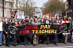 NUT teachers strike over pay; London April 2008