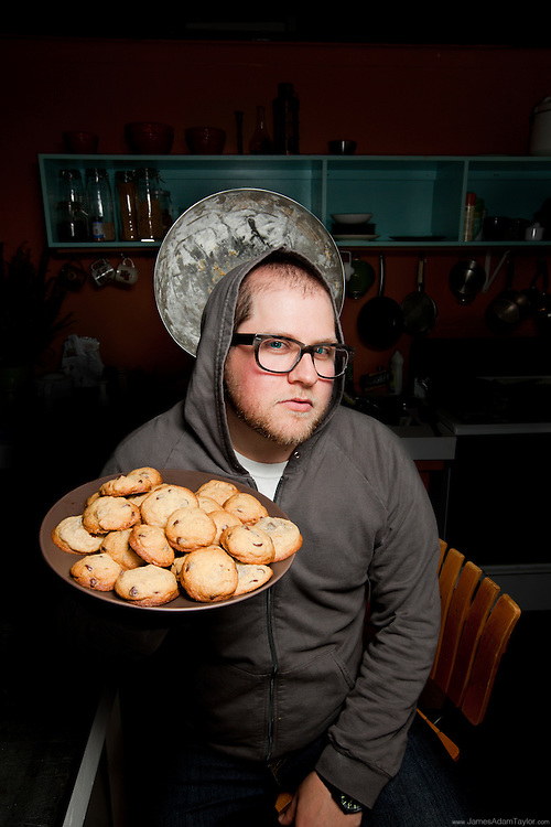 Jason Snyder of BRAINSTORM PRINT + DESIGN with mixing bowl Halo and Platter of fresh baked cookies.