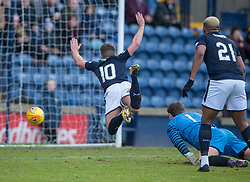 Raith Rovers Lewis Vaughan takes a dive after his tangles with Airdrie's keeper Rohan Ferguson. half time : Raith Rovers 0 v 1 Airdrie, Scottish Football League Division One game played 10/2/2018 at Stark's Park, Kirkcaldy.