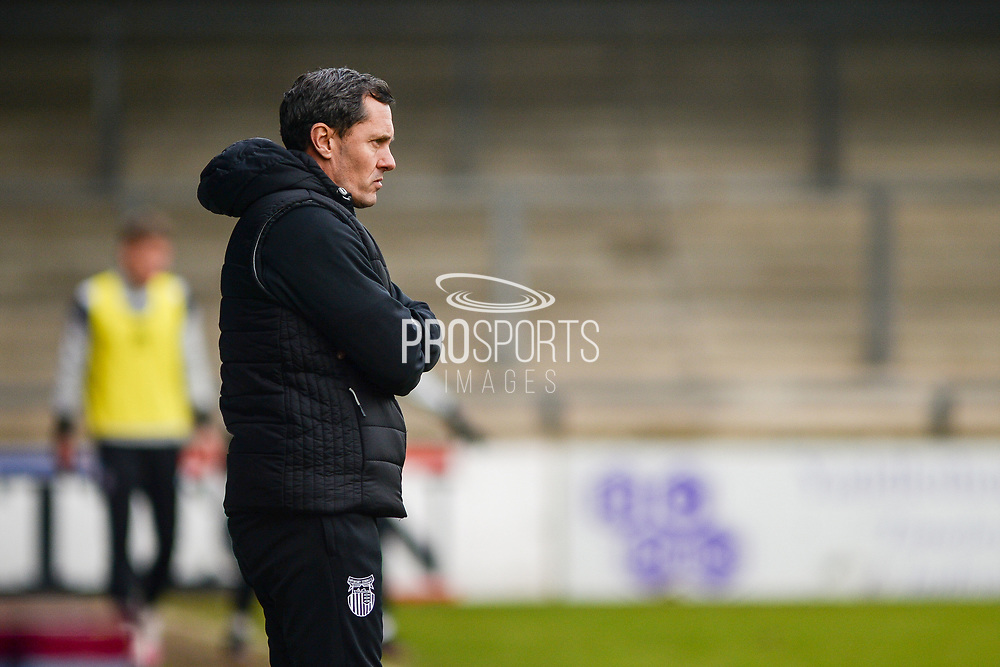 Grimsby Town manager Paul Hurst watching on during the EFL Sky Bet League 2 match between Scunthorpe United and Grimsby Town FC at the Sands Venue Stadium, Scunthorpe, England on 23 January 2021.