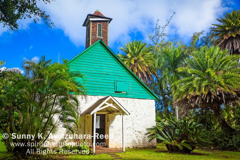 Polynesian style church: Palapala Ho'omau Church with tropical plants. Kipahulu, Maui, Hawaii.