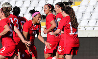 Fifa Womans World Cup Canada 2015 - Preview //<br /> Cyprus Cup 2015 Tournament ( Gsp Stadium Nicosia - Cyprus ) - <br /> Italy vs Canada 0-1   //  Allysha Chapman of Canada (15-Middle) , <br /> celebrates with team mates Desiree Scott  , after his Goal (0-1)