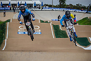 #254 (RACINE Romain) FRA and #741 (ARBOLEDA OSPINA Diego Alejandro) COL at Round 2 of the 2020 UCI BMX Supercross World Cup in Shepparton, Australia.