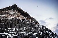 VIK, ICELAND - CIRCA MARCH 2015: Basalt Columns at the black beach of Reynisfjara, near Vik, and basalt sea stacks in southern Iceland at sunrise.