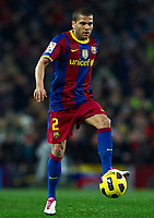 BARCELONA, SPAIN - NOVEMBER 29: Daniel Alves of Barcelona during the La Liga match between Barcelona and Real Madrid at the Camp Nou Stadium on November 29, 2010 in Barcelona, Spain. (Photo by Manuel Queimadelos/DPPI)