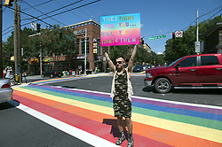 July 29, 2017 - Atanta, GA - Transgender community, family and allies rally and march in Midtown Atlanta to protest President Trump's recent tweet about transgender individuals in the  military service. (Credit Image: © Robin Rayne Nelson via ZUMA Wire)