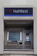 An out of service Natwest bank cashpoint ATM machine.
