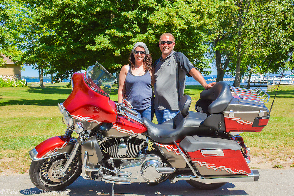 Riding Through Northport Michigan On A Harley Davidson Motorcycle