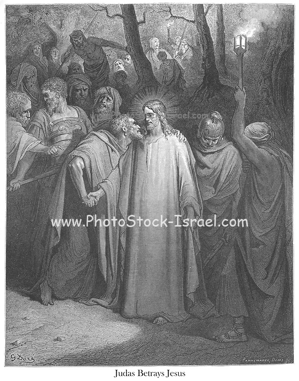 Judas Betrays Jesus with a kiss [Mark 14:45-46] From the book 'Bible Gallery' Illustrated by Gustave Dore with Memoir of Dore and Descriptive Letter-press by Talbot W. Chambers D.D. Published by Cassell & Company Limited in London and simultaneously by Mame in Tours, France in 1866