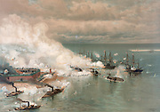 Battle of Mobile Bay, by Louis Prang. At left foreground is the CSS Tennessee; at the right the USN Tecumseh is sinking.
