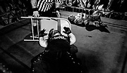 May 14, 2009-Denver, Colorado, USA-Justice and Jmazing lay on the floor after Jmazing hit Justice with a chair during the Micro Wrestling Federation show at 3 Kings Tavern. (Credit Image: Bret Hartman/Zuma Press)