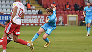 Cheltenham Town's George Lloyd scores a goal 0-1 during the EFL Sky Bet League 2 match between Stevenage and Cheltenham Town at the Lamex Stadium, Stevenage, England on 20 April 2021.