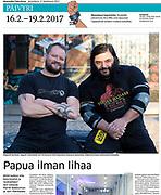 Vegan strongmen Joni Purmomen and Patrik Baboumian, photographed at Strength Gym Berlin. Published in Finnish newspaper Maaseudun Tulevaisuus, February 2017.