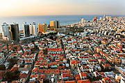 Israel, Tel Aviv, Elevated view of the city and coastline