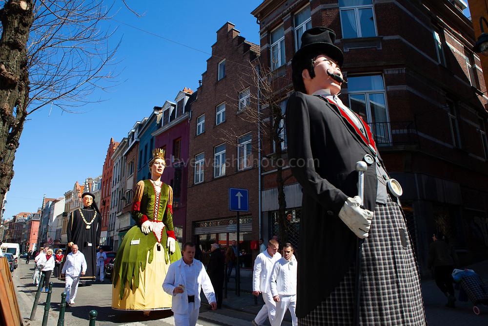 Georges, Dona Brabantia and Philippe Le Bon: Geants du quartier Bruegel, Brussels. Parade of giants on Rue Haute, Brussels