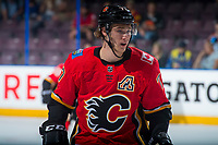 PENTICTON, CANADA - SEPTEMBER 8: Mark Jankowski #77 of Calgary Flames skates during second period against the Edmonton Oilers on September 8, 2017 at the South Okanagan Event Centre in Penticton, British Columbia, Canada.  (Photo by Marissa Baecker/Shoot the Breeze)  *** Local Caption ***
