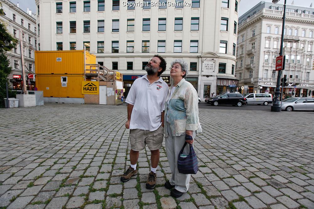 Mom and Dad at an anti war memorial in Vienna, Austria on Thursday June 30th 2011. (Photo by Brian Garfinkel)