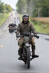 Shinya Kimura made his fifth attempt to cross the entire country riding his 1915 Indian on the Motorcycle Cannonball coast to coast vintage run. Stage 5 (229 miles) from Bowling Green, OH to Bourbonnais, IL. Wednesday September 12, 2018. Photography ©2018 Michael Lichter.