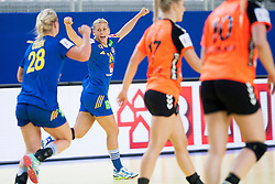 10-12-2014 CRO: EHF EK Nederland - Zweden, Varazdin<br /> Nathalie Hagman #24 of Sweden celebrates during handball match between Netherlands and Sweden at 11th EHF European Women's Handball Championship Hungary-Croatia 2014<br /> *** USE NETHERLANDS ONLY ***