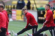 Aberdeen's Ethan Ross (23) warming up during the Scottish Premiership match between Livingston and Aberdeen at Tony Macaroni Arena, Livingstone, Scotland on 1 May 2021.