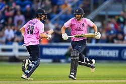 Stephen Eskinazi and Dawid Malan of Middlesex run for a quick single<br /> <br /> Photographer Craig Thomas/Replay Images<br /> <br /> Vitality Blast T20 - Round 4 - Glamorgan v Middlesex - Friday 26th July 2019 - Sophia Gardens - Cardiff<br /> <br /> World Copyright © Replay Images . All rights reserved. info@replayimages.co.uk - http://replayimages.co.uk
