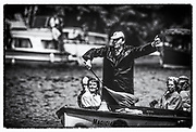 "Henley on Thames, England, July 1988,  Regatta Umpire and Steward, ""John STEPHENSON"", Riding in the Bow of ""Magician"", 1988 Henley Royal Regatta, Henley Reach.©  Peter SPURRIER, 1988 Henley Royal Regatta. UK"