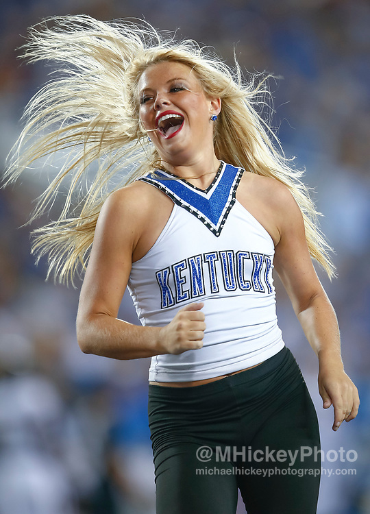 LEXINGTON, KY - OCTOBER 07: A Kentucky Wildcats dance team member is seen during the game against the Missouri Tigers at Commonwealth Stadium on October 7, 2017 in Lexington, Kentucky. (Photo by Michael Hickey/Getty Images)