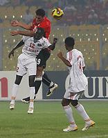 Photo: Steve Bond/Richard Lane Photography.<br />Egypt v Sudan. Africa Cup of Nations. 26/01/2008. Eldin El Dod (lower L) cannot prevent Mansour Amr Hassan (higher) getting on a goalward header