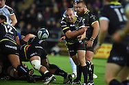 Brendon Leonard  of the Ospreys passes the ball . European Rugby Champions Cup match, Ospreys v Exeter Chiefs at the Liberty Stadium in Swansea, South Wales on Sunday 15th November 2015. pic by Andrew Orchard, Andrew Orchard sports photography.