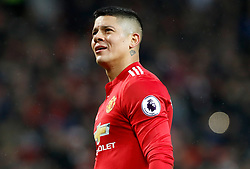 """Manchester United's Marcos Rojo during the Premier League match at Old Trafford, Manchester. PRESS ASSOCIATION Photo. Picture date: Saturday February 3, 2018. See PA story SOCCER Man Utd. Photo credit should read: Martin Rickett/PA Wire. RESTRICTIONS: EDITORIAL USE ONLY No use with unauthorised audio, video, data, fixture lists, club/league logos or """"live"""" services. Online in-match use limited to 75 images, no video emulation. No use in betting, games or single club/league/player publications."""