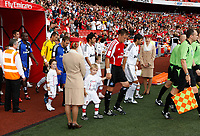 Photo: Richard Lane/Richard Lane Photography. SV Hamburg v Real Madrid. Emirates Cup. 02/08/2008. The teams are lead out by captains, Real's Raul  and Hamburg's Frank Frost.