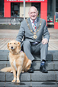 NO FEE PICTURES                                                                                                                                            9/5/19 Lord Mayor Nial Ring with Teddy the retriever at the launch of Ireland's favourite animal friendly event, Pets in the City, which will take place in Dublin's Smithfield Square on Sunday May 19th from 1130am to 430pm. Picture: Arthur Carron