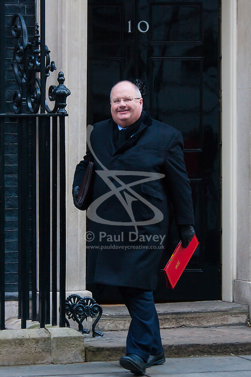 Downing Street, London, January 20th 2015. Ministers leave the weekly cabinet meeting at Downing Street. PICTURED: Eric Pickles MP, <br /> Secretary of State for Communities and Local Government, Minister for Faith