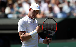 Kyle Edmund reacts on day two of the Wimbledon Championships at the All England Lawn Tennis and Croquet Club, Wimbledon.