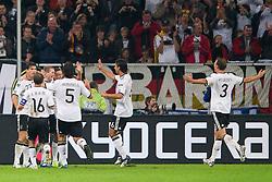 11.10.2011, Esprit Arena, Duesseldorf, GER, UEFA EURO 2012 Qualifikation, Deutschland (GER) vs Belgien (BEL), im Bild Jubel Deutschland nach dem 2 - 0 durch Andre Schürrle / Schuerrle (#9 GER, Bayer Leverkusen) // during the UEFA Euro 2012 qualifying round Germany vs Belgium  at Esprit Arena, Duesseldorf 2011-10-11 EXPA Pictures © 2011, PhotoCredit: EXPA/ nph/  Kurth       ****** out of GER / CRO  / BEL ******