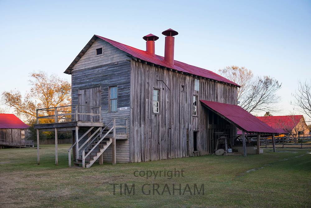 Cotton gin - short for engine - at Frogmore Farm cotton plantation in Ferriday, the Deep South, Louisiana, USA