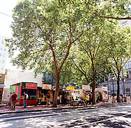 Portland Oregon's 5th Ave. Food carts located between SW Oak and Start streets offer a range of affordable lunch fare serving ethnic food including Greek, Thai, Czech, and American meals.