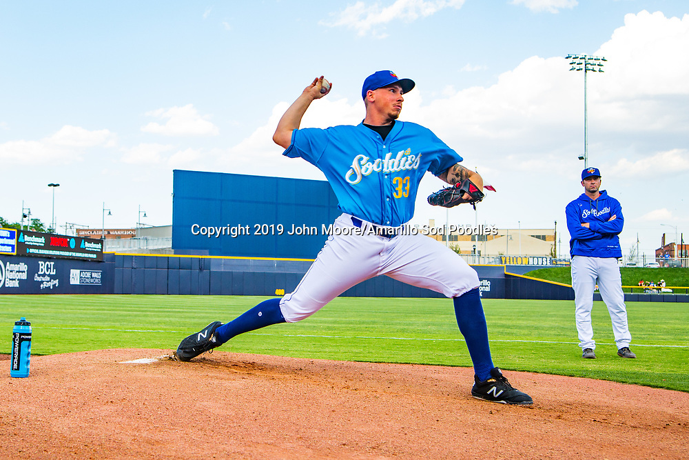 Amarillo Sod Poodles pitcher Lake Bachar (33) before the game against the Northwest Arkansas Travelers on Sunday, July 21, 2019, at HODGETOWN in Amarillo, Texas. [Photo by John Moore/Amarillo Sod Poodles]