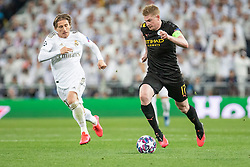 Real Madrid's Luka Modric and Manchester City's Kevin de Bruyne during the UEFA Champions League round of 16 first leg match Real Madrid v Manchester City at Santiago Bernabeu stadium on February 26, 2020 in Madrid, Sdpain. Real was defeated 1-2. Photo by David Jar/AlterPhotos/ABACAPRESS.COM