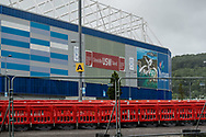 Coronavirus drive through testing is still in operation outside the stadium during the Cardiff City vs Leeds United EFL Championship match at the Cardiff City Stadium, Cardiff, Wales on 21 June 2020.