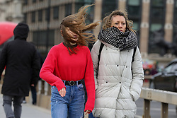 © Licensed to London News Pictures. 01/01/2020. London, UK. Windy weather in the capital as members of public cross Westminster Bridge.  Photo credit: Dinendra Haria/LNP