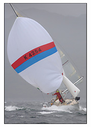 The second days racing at the Bell Lawrie Yachting Series in Tarbert Loch Fyne ...Strong winds, high seas and heavy rain dominated the day...Sigma 33- Seapie of Cultra rolling dangerously downwind..